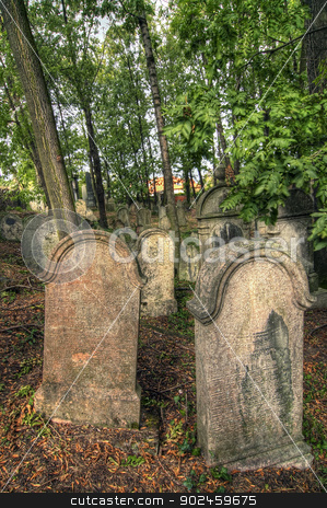 Jewish Cemetery stock photo, Jewish cemetery at Kolin - one of the oldest landmarks of that kind in Bohemia. The beginning of the cemetery dates back to the 15th century. The oldest tombstones  are from 1492.  by Siloto