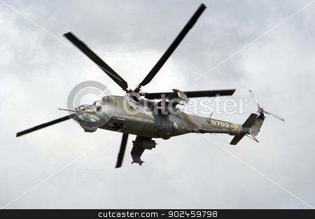 flying gunship stock photo, Shot of the flying armed gunship by Siloto