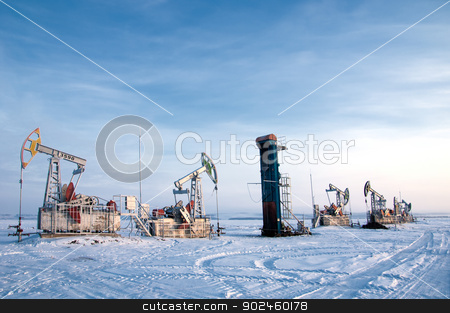 rocking oil stock photo, Rocking oil, Frosty Morning by Aleksandr Prokopenko