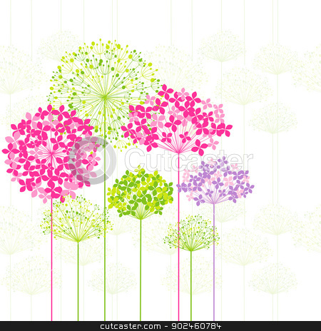 Springtime Colorful Flower on Dandelion Background stock vector clipart, Springtime Colorful Flower on Dandelion Seamless Pattern Background by meikis