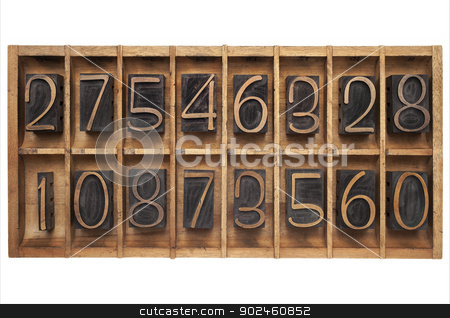 wood type numbers in a box stock photo, random numbers (letterpress wood type blocks) in vintage typesetter drawer by Marek Uliasz