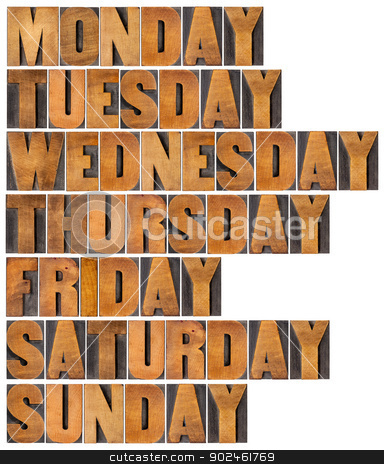 days of week in wood type stock photo, seven days of week from Monday to Sunday in isolated vintage letterpress wood type printing blocks by Marek Uliasz