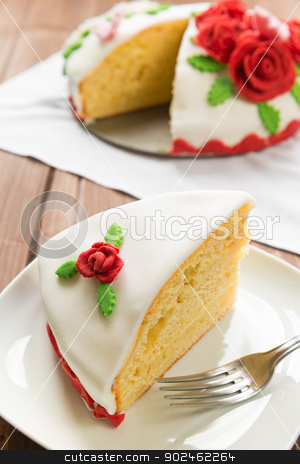 Decorated cake stock photo, Decorated sweet layer cake with sugar fondant by Giordano Aita