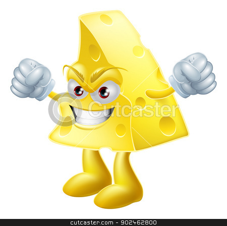 Angry cheese man stock vector clipart, An illustration of a very angry looking cartoon cheese man character with hands in fists by Christos Georghiou