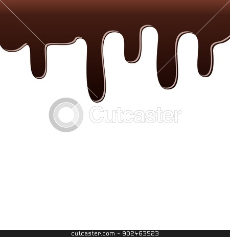 Drops of chocolate stock photo, Dripping chocolate. Illustration on white background. by Sergey Skryl