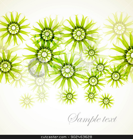 abstract green floral vector background stock vector clipart, abstract green floral vector background by bharat pandey