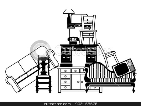 Pile of furniture stock vector clipart, Illustration of a pile of furniture. Could be used for home insurance related or house clearance and moving home. by Christos Georghiou