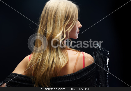 The beautiful girl with black gloves stock photo, Beautiful girl model posing on black background by Aikon