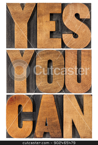 yes you can motivation phrase stock photo, Yes you can - motivational slogan - isolated text in vintage letterpress wood type printing block, rectangular layout by Marek Uliasz
