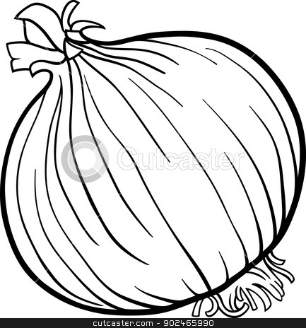 onion vegetable cartoon for coloring book stock vector clipart, Black and White Cartoon Illustration of Onion Root Vegetable Food Object for Coloring Book by Igor Zakowski