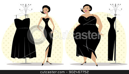After and before diet stock vector clipart, Lady fitting dress after and before diet by Vanda Grigorovic