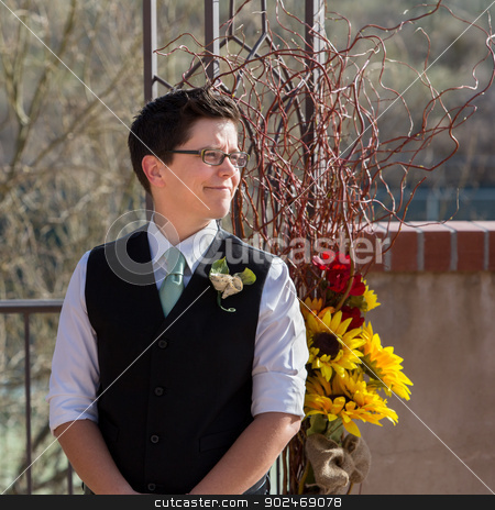 Woman Waiting for Partner stock photo, One woman in gay wedding waiting for her partner by Scott Griessel