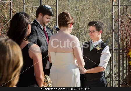 Smilng Woman in Wedding stock photo, Smiling woman with glasses holding hands with bride by Scott Griessel
