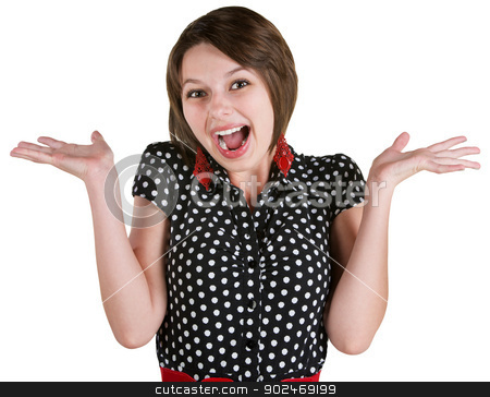 Excited Woman with Hands Up stock photo, Single excited young white woman in polka dot dress by Scott Griessel