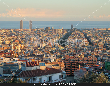 Barcelona in late sunlight stock photo, Barcelona in warm sunlight seen towards the sea by Andreas Altenburger
