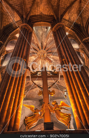 Cross Angels Stone Columns Gothic Catholic Barcelona Cathedral B stock photo, BARCELONA, SPAIN--OCTOBER 19, 2012 Cross Angels Stone Columns Arches Gothic Catholic Barcelona Cathedral Basilica in Catalonia, Barcelona, Spain on October 19, 2012.  Cathedral built in 1298. by William Perry