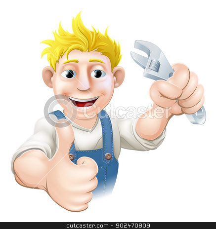 Cartoon mechanic or plumber stock vector clipart, Illustration of a cartoon mechanic or plumber holding an adjustable wrench or spanner.  by Christos Georghiou