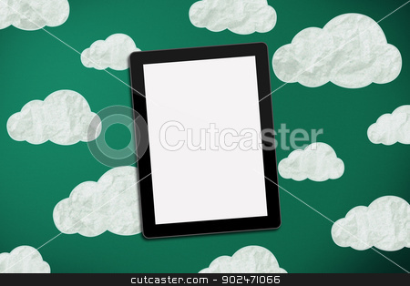 tablet on chalk board with clouds stock photo, tablet on green chalk board with clouds by matteo bragaglio