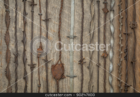 vintage barbed wire stock photo, vintage rusty barbed wire collection against barn wood by Marek Uliasz