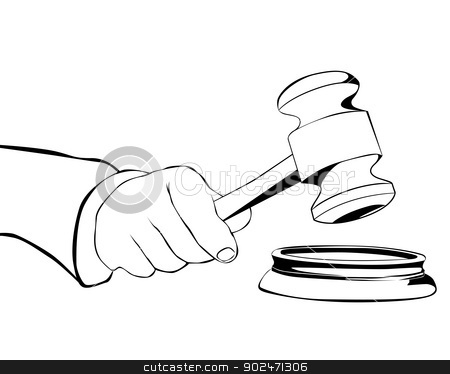 hand with judicial hammer stock vector clipart, drawing hand with judicial hammer on a white background by Yuriy Mayboroda