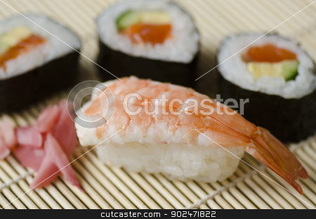 Japanese sushi stock photo, Japanese Cuisine, Sushi Set with shrimp, Nigiri, Maki Sushi and Sashimi by Andreas Altenburger