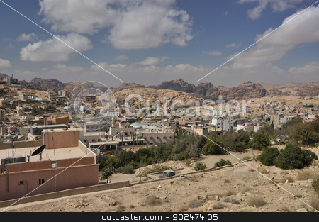 View from Petra town to archeological site Petra stock photo, Petra is a historic and archaeological city in the Jordanian governorate of Ma'an that has rock cut architecture and water conduits system. by Karolina Vyskocilova