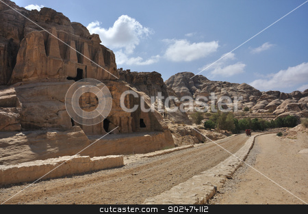 Petra, Jordan stock photo, Petra is a historic and archaeological city in the Jordanian governorate of Ma'an that has rock cut architecture and water conduits system. by Karolina Vyskocilova