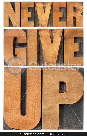 never give up in wood type stock photo, never give up - isolated phrase in vintage letterpress wood type, scaled to rectangle by Marek Uliasz