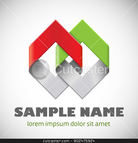 Abstract symbol stock vector clipart, Abstract shape. Corporate icon. by vtorous