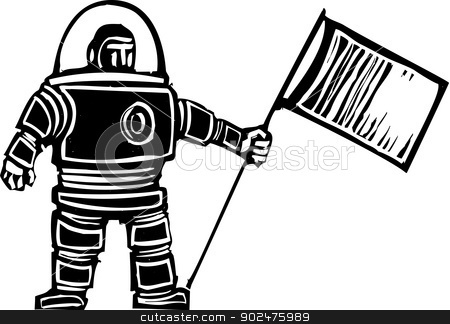 Woodcut Astronaut with Flag stock vector clipart, Woodcut style retro astronaut with a flag by Jeffrey Thompson