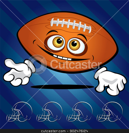 Funny smiling football ball  stock photo, Funny smiling football ball on the dark blue background by Yurkaimmortal