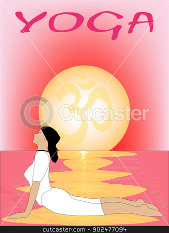 Yoga Sunrise stock vector clipart, A yoga poster set on a pink oriental sunrise by Kotto