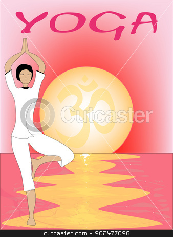 Yoga Sunset stock vector clipart, A yoga poster set on a pink oriental sunrise by Kotto