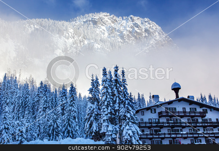 German Alpine Building Snow Mountain Snoqualme Pass Washington stock photo, German Alpine Building Snow Mountain at Snoqualme Pass Washington. by William Perry