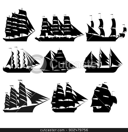 Sailing ships 1 stock photo, The contours of the old sailing ships. Black-and-white illustration on a white background. by Sergey Skryl