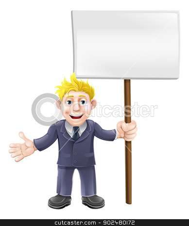 Cartoon suit man holding sign stock vector clipart, A cartoon illustration of a business guy in a suit holding a sign board by Christos Georghiou