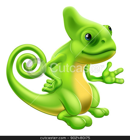 Cartoon Chameleon stock vector clipart, Illustration of a cartoon chameleon lizard character standing and showing something with their hand. by Christos Georghiou