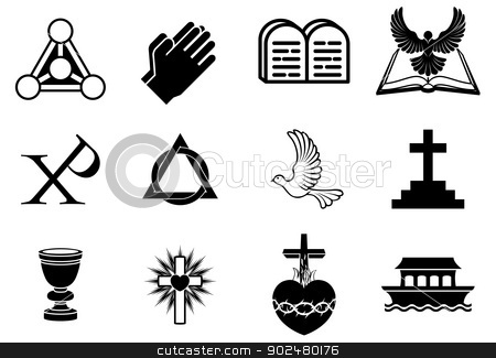 Christian icons stock vector clipart, A set of Christianity icons and symbols, including dove, Chi Ro, praying hands, bible, trinity christogram, cross, communion goblet, ark and more by Christos Georghiou