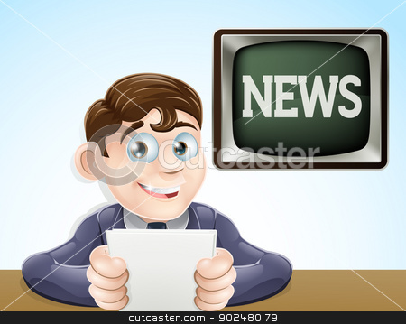 News reporter stock vector clipart, An illustration of a studio television news reporter holding paper at desk  by Christos Georghiou