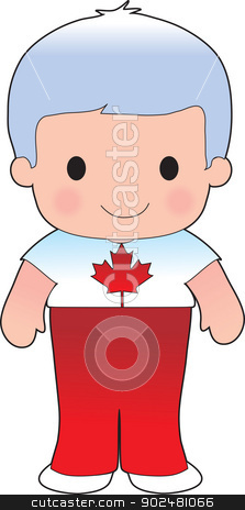 Poppy Canadian Boy stock vector clipart, A smiling, well dressed young lad wears clothing representative of Canada. by Maria Bell