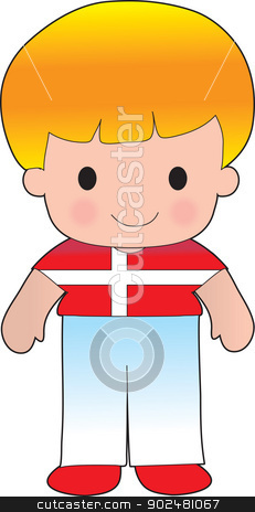 Poppy Denmark Boy stock vector clipart, A smiling, well dressed young lad wears clothing representative of Denmark. by Maria Bell