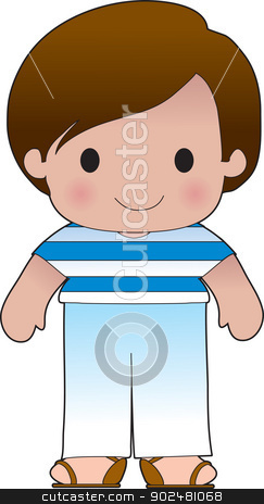 Poppy Greek Boy stock vector clipart, A smiling, well dressed young lad wears clothing representative of Greece. by Maria Bell