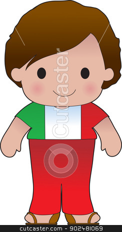 Poppy Italian Boy stock vector clipart, A smiling, well dressed young lad wears clothing representative of Italy. by Maria Bell
