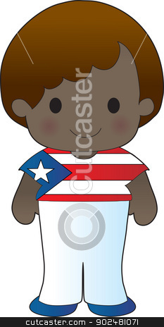 Poppy Puerto Rico Boy stock vector clipart, A smiling, well dressed young lad wears clothing representative of Puerto Rico. by Maria Bell