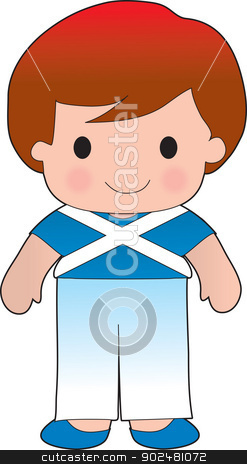 Poppy Scotland Boy stock vector clipart, A smiling, well dressed young lad wears clothing representative of Scotland. by Maria Bell