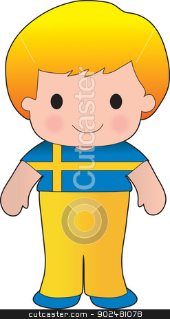 Poppy Sweden Boy stock vector clipart, A smiling, well dressed young lad wears clothing representative of Sweden. by Maria Bell
