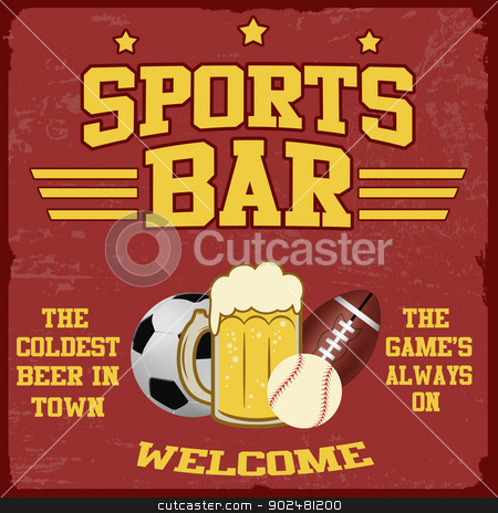 Sport bar poster stock vector clipart, Sport bar vintage grunge poster, vector illustrator by radubalint