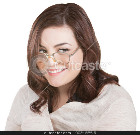 Smiling Funny Lady stock photo, Female nerd wrapped in sweater over white background by Scott Griessel