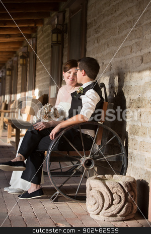 Couple Admiring Each Other stock photo, Admiring young lesbian married couple sitting outdoors by Scott Griessel