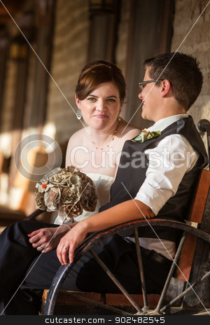 Happy Bride with Partner stock photo, Happy bride with partner on antique bench by Scott Griessel